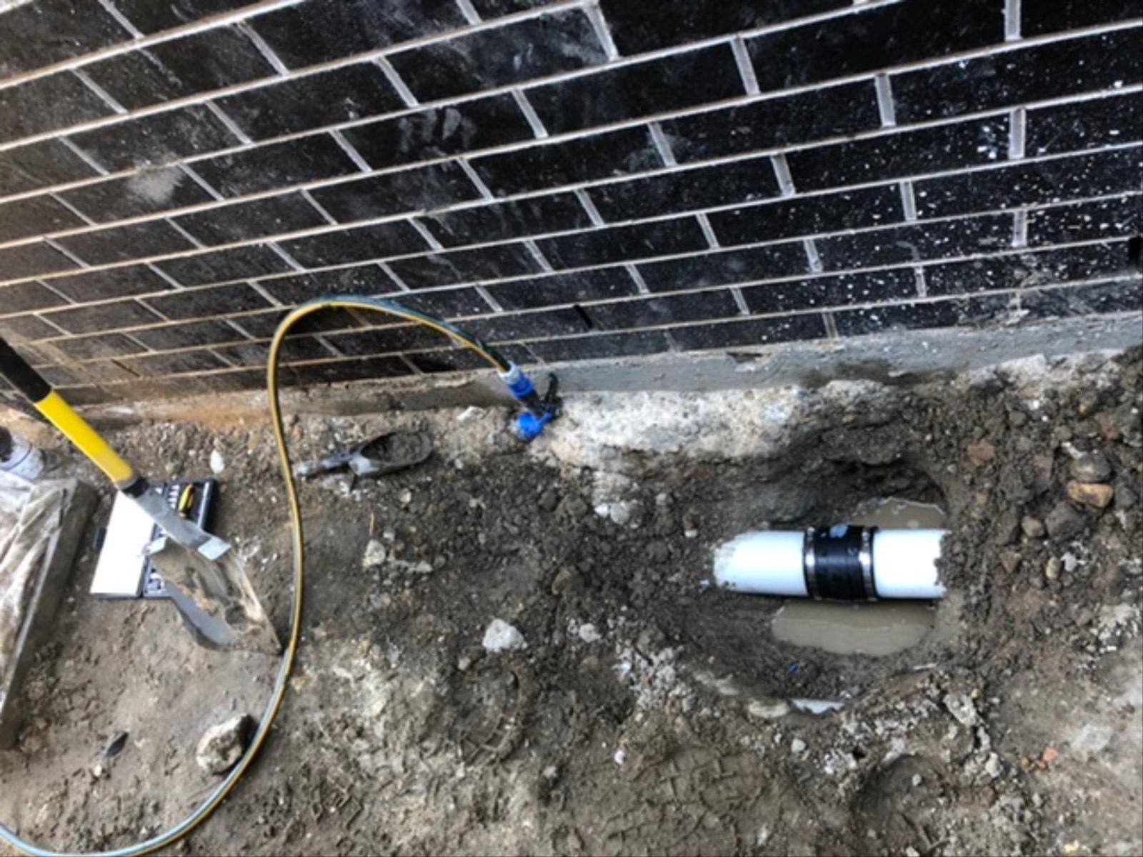 Stormwater pipe repair before concreting