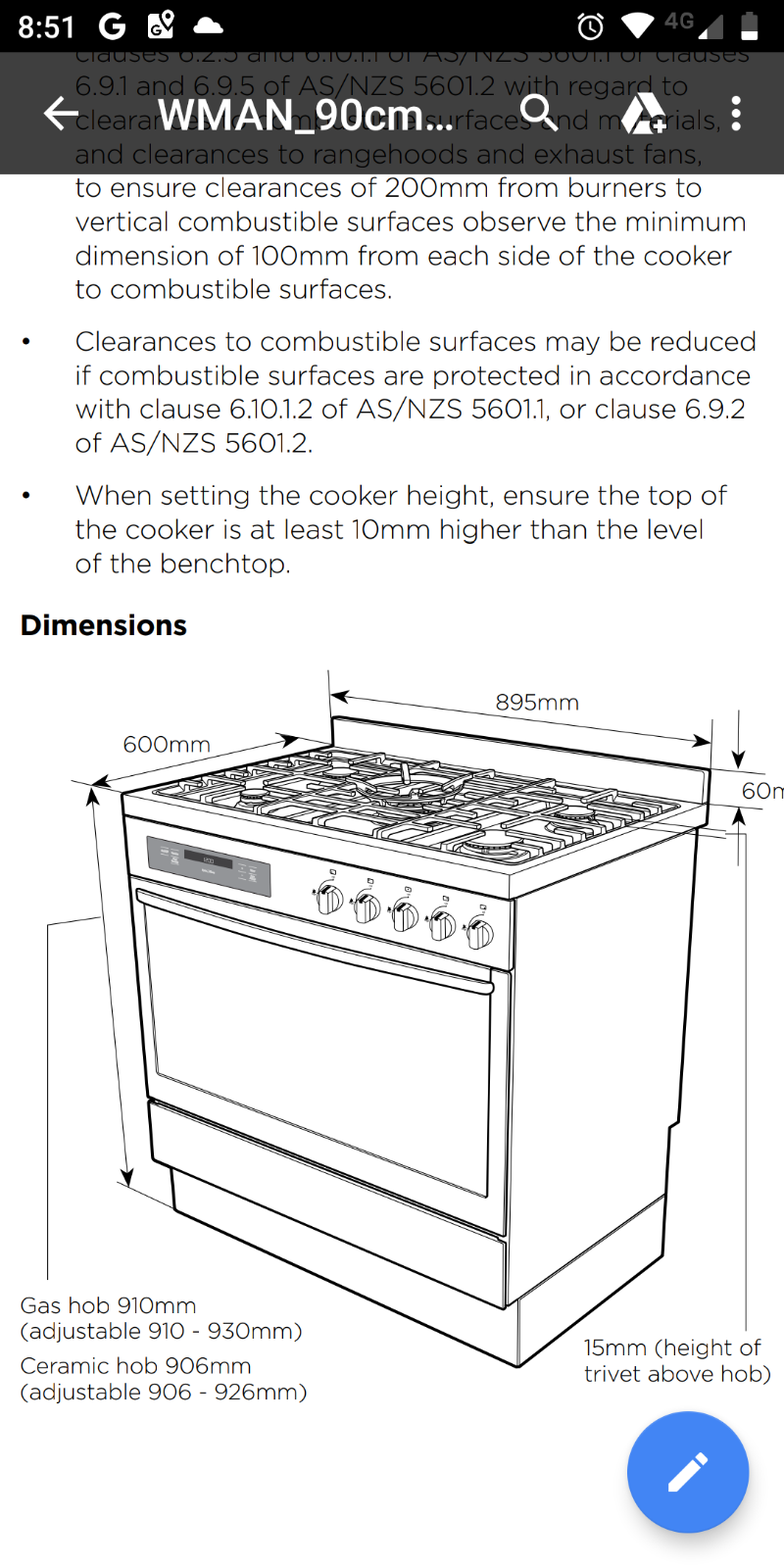 Should the free standing cooker be higher than the bench top