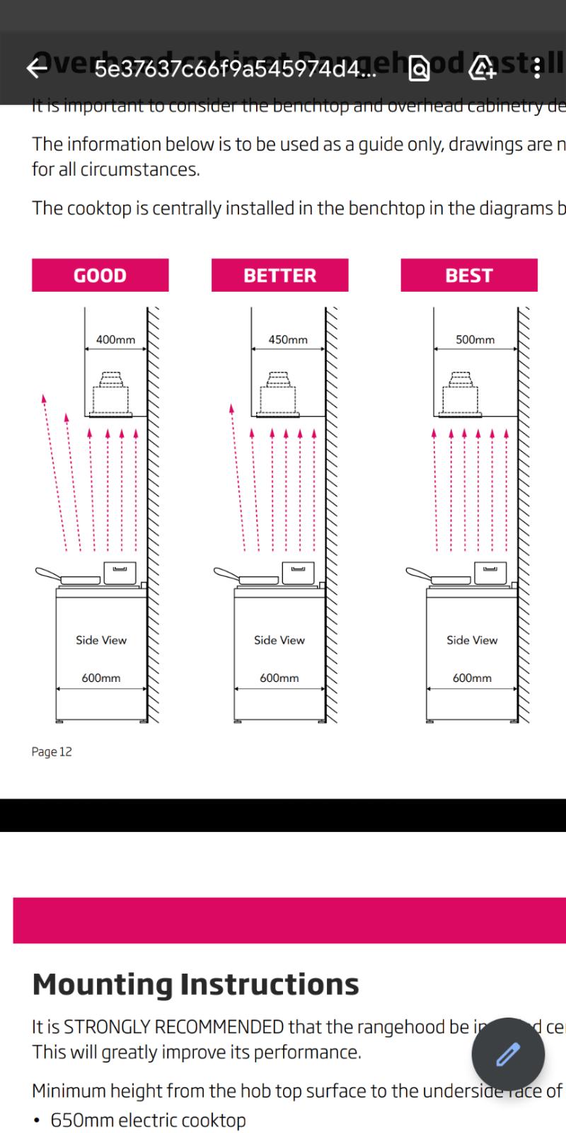 Distances between cooktop, backwall & rangehood