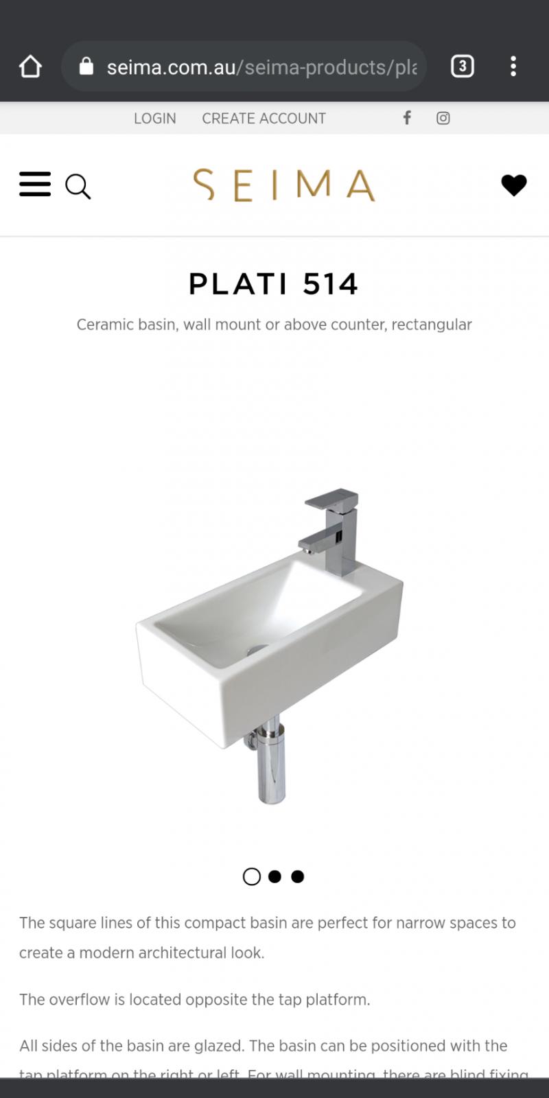 wall hung basin on counter?