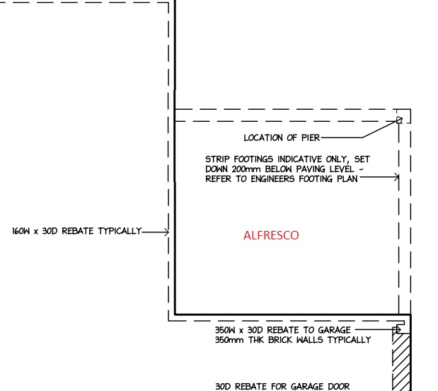 Strip footing alfresco - does this mean no concrete slab?