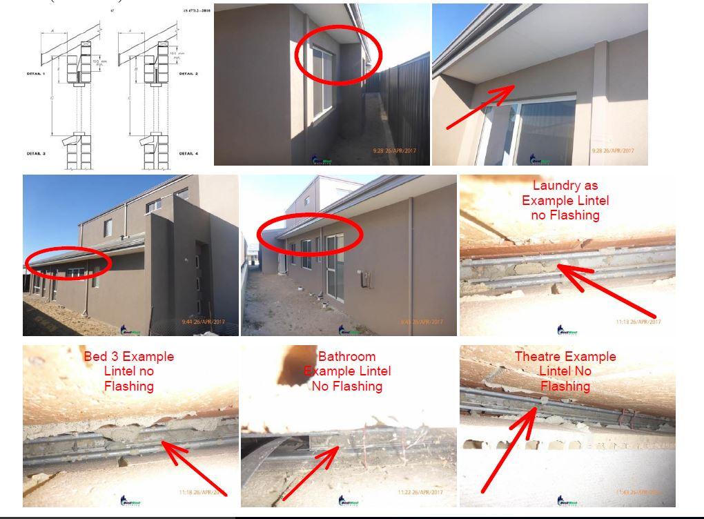 Walls - Cavity Brickwork head Flashings Not installed