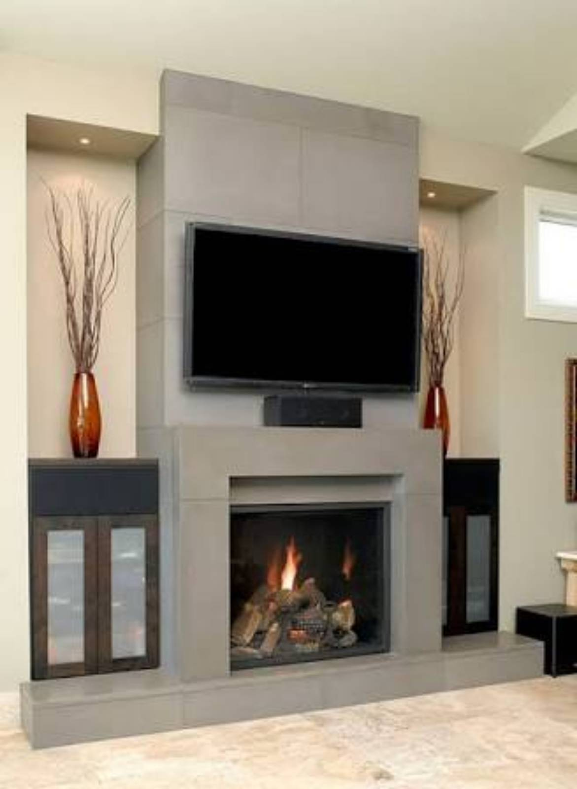 In built wood fireplace