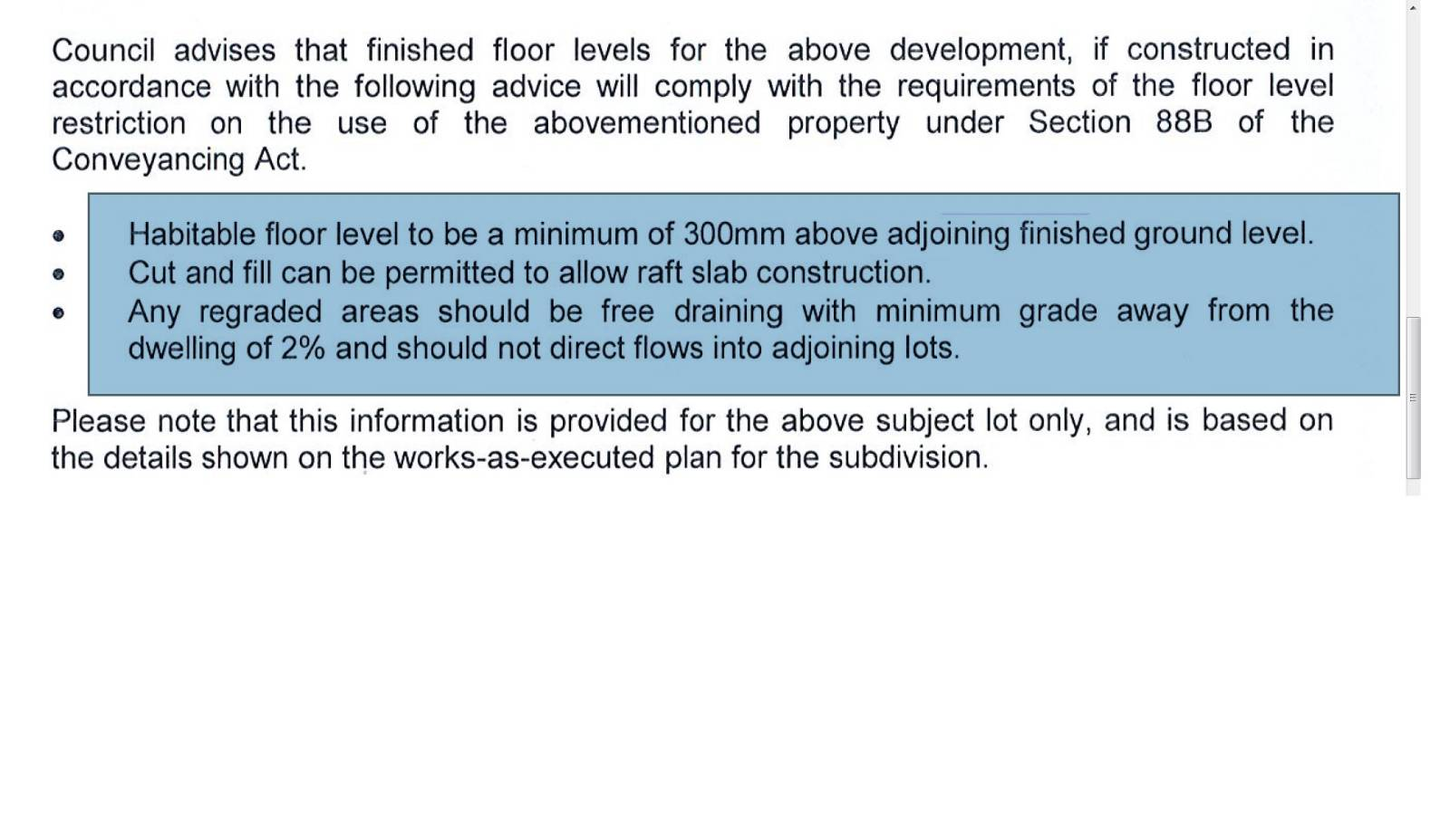 Bardia Flood study map, floor level advise
