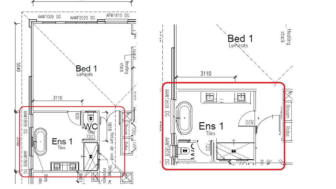 Ensuite lay out - please advise