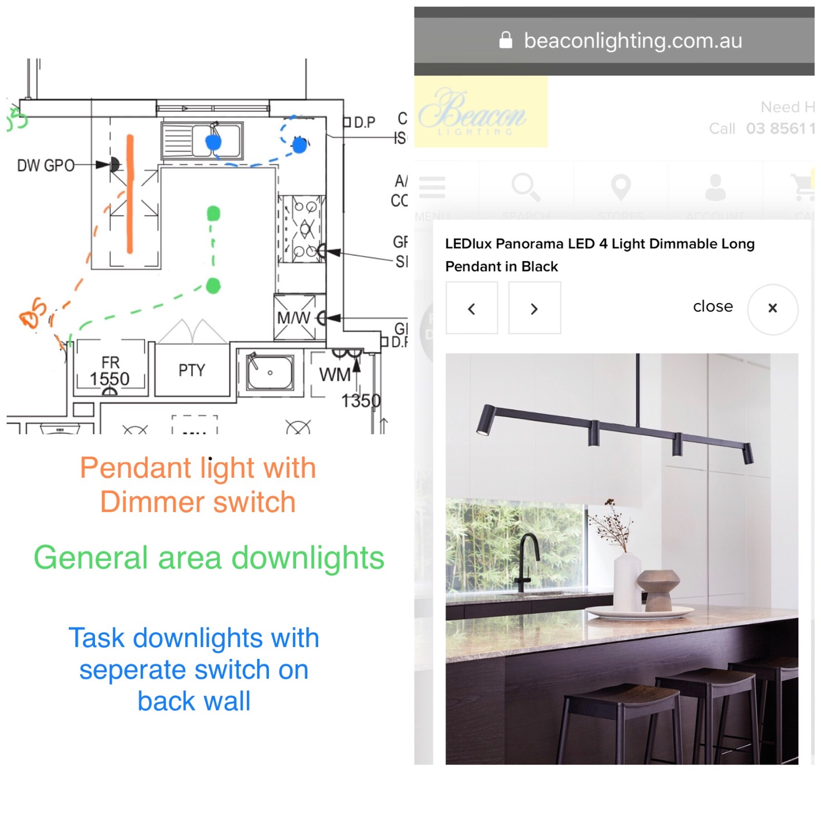 Kitchen LED downlights Help