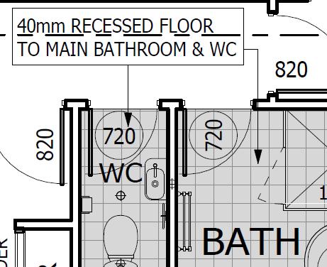 recess floor in wet areas