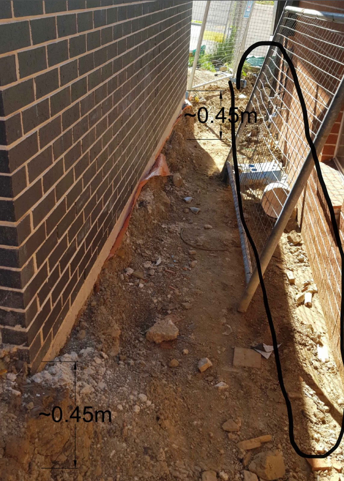 Backfill around the concrete slab