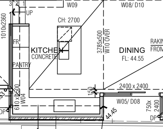 Floorplan - can sink fit along wall?