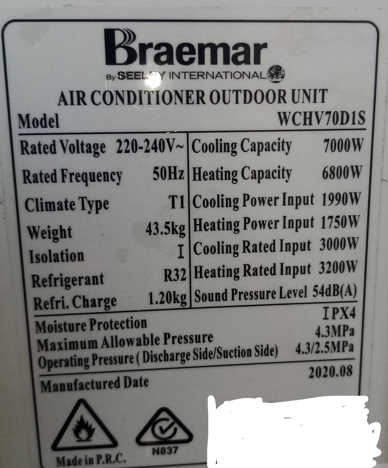 braemar aircon wchv70d1s