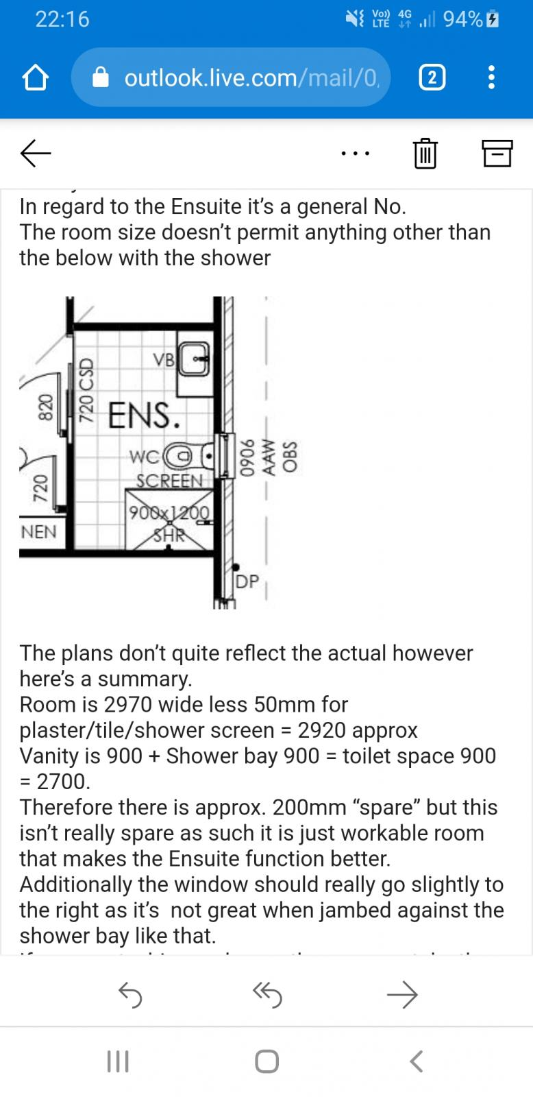 820mm toilet space, is this big enough?