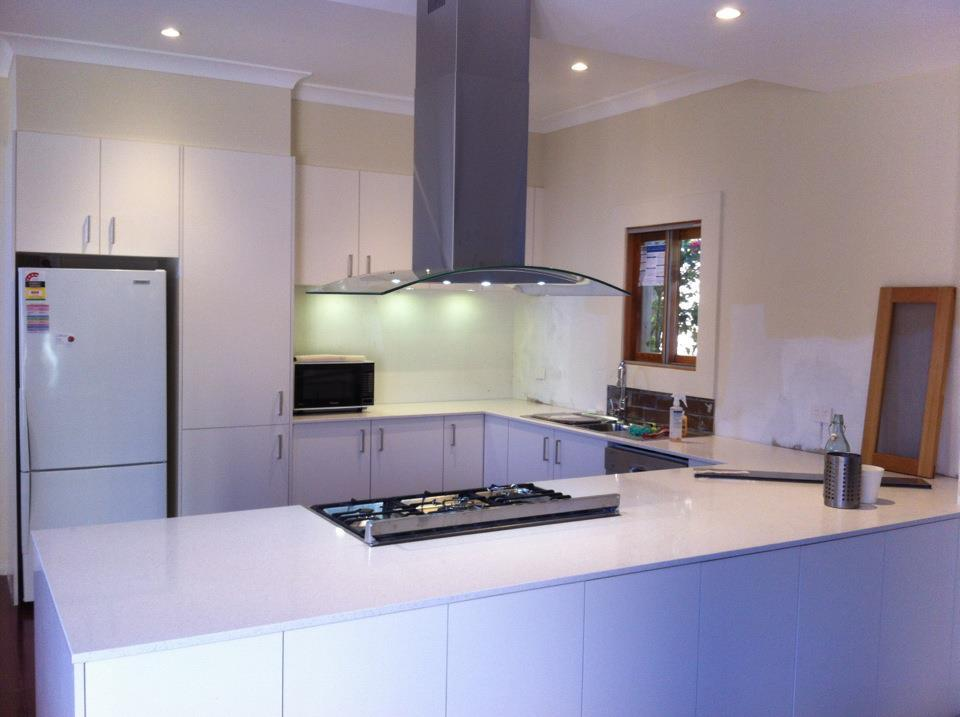 Recycle and re-cut existing kitchen stone for bath and laund